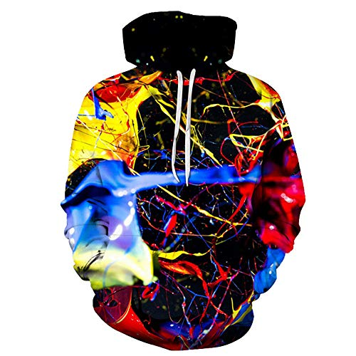 BMSD Hombres Pullover 3D Color Paint Print Sudaderas con Capucha Club Casual Street Teenager Sudaderas, 6X-Large