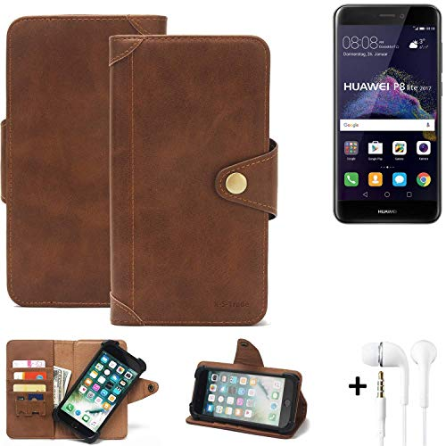 K-S-Trade Mobile Phone Wallet Case Huawei P8 Lite 2017 Dual SIM Bookstyle Cover Phone Purse Protective Bag Mobile Phone Sleeve Book Case Flip Cover PU Brown (1x) + Earphones