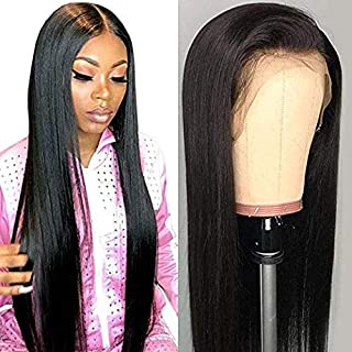 Ucrown Hair 13x4 Lace Front Wigs Brazilian Straight Human Hair Wigs For Black Women 150% Density Pre Plucked with Baby Hair Natural Black(Lace front wig-18)