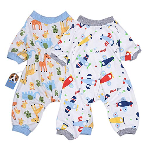 Amakunft 2-Pack Dog Clothes Dogs Cats Onesie Soft Dog Pajamas Cotton Puppy Rompers Pet Jumpsuits...