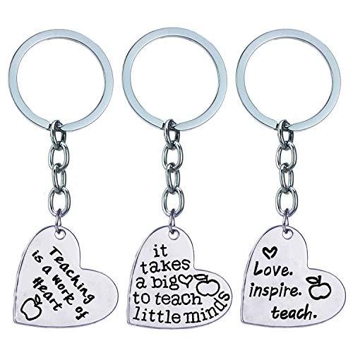 XYBAGS 3PCS Teacher Appreciation Gifts Keychain for Women Men, Graduation Birthday Christmas Key Chain Gift for Teachers
