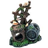 WICKER WEAVING Estatua de Resina Peces de Acuario Tanque de Resina Artesanal Decoración Retro Barril Reproducción Casa en Camarones Peces Estatuas de Animales