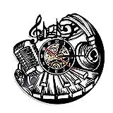 SuDeLLong Reloj de Pared único Reloj De Pared De Decoración Casera Única Hecha De Récord De Vinilo - Reloj Elegante Y Regalos Increíbles (Color : Black, Size : 12 Inches)