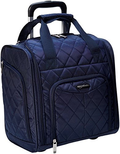 AmazonBasics Underseat Carry-On Rolling Travel Luggage Bag, 14 Inches, Navy Blue Quilted