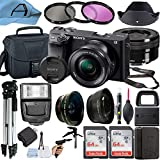 Sony Alpha a6400 Mirrorless Digital Camera 24.2MP Sensor with 16-50mm Lens, 2 Pack SanDisk 64GB Memory Card, Padded Bag, Tripod and A-Cell Accessory Bundle (Black)