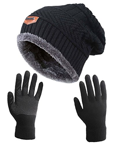 HINDAWI Winter Slouchy Beanie Gloves for Women Knit Warm Hats Skull Caps Touch Screen Mittens Black