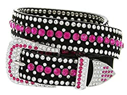 Western Rhinestone Bling Cowgirl Leather Pink Belt