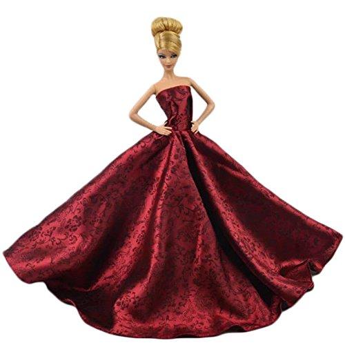 Elegantes Hochzeitskleid für Barbie-Puppe, chinesischer Stil, Rot