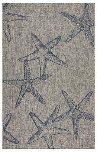 LR Home Blue Starfish Constellation Area Rug, 5'0' x 7'0', Gray