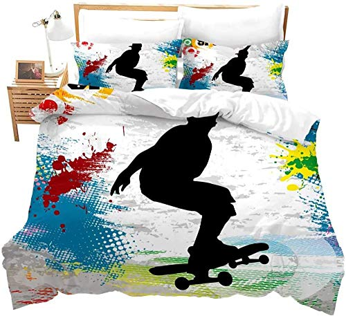 Acseoann Ropa De Cama De Microfibra 3D Colorido Graffiti Deportes Extremos Monopatín Juvenil 220X240 Cm , Funda Nórdica Suave Y Transpirable, Con Cremallera Y 2 Funda De Almohada De Para Verano E Inv