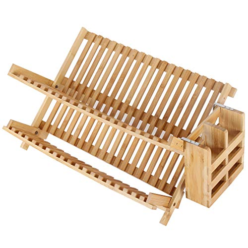 SKOLOO Bamboo Dish Drying Rack-19 Slots, Collapsible Bamboo Dish Rack with Utensil Holder, Wooden Compact Folding Dish Drying Rack