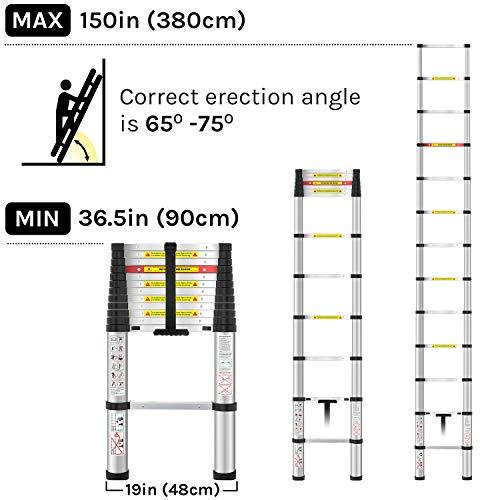 WolfWise Aluminum Telescopic Extension Multi-Purpose Ladder, 12.5FT, 330lbs Capacity