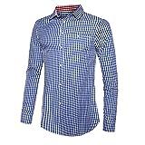 OEAK Camisa tradicional para hombre de manga larga a cuadros Oktoberfest, estilo cargo de corte regular para hombre, para el tiempo libre, Cuadros Azul A, S