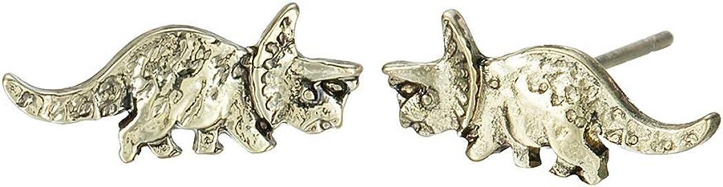 Vintage Triceratops Stud Earrings Dinosaur Punk Earrings for Women and Men