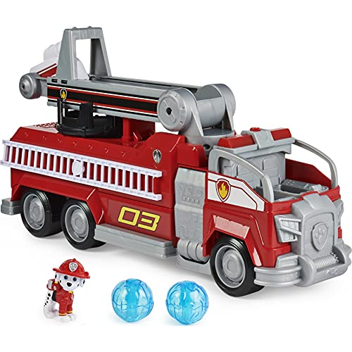 PAW Patrol, Marshall's Transforming Movie City Fire Truck with Extending Ladder, Lights, Sounds and Action Figure, Kids Toys for Ages 3 and up