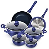 KUTIME 10pcs Cookware Set Non-stick Pots and Pans Set Blue Pan Non-stick Frying Pan Set Ceramic Coating Saucepan Stockpot with Lid, Gas, Induction Compatible