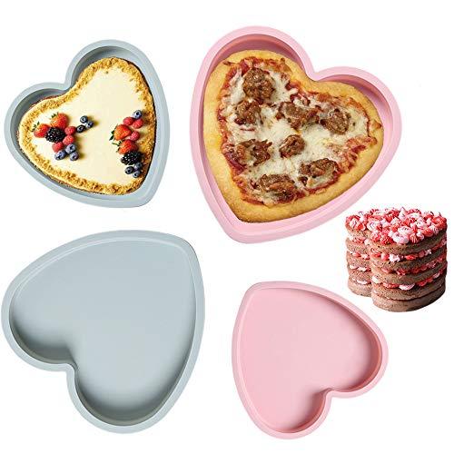 Zufällige Farbe Silikon Backform 4er Set,Silikon Kuchenform Kastenform,Herzförmige Kuchenform Gebäck-Backblech-Form Antihaft für Muffins, Herzbackform,Kuchen, Muffincups, Schokolade, Seife- 6&8Zoll