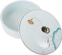 BESTonZON Porcelanowa herbata Caddy Vintage ceramika lotosu pływanie ryba kuchnia kanister z pokrywką do herbaty suszone o...