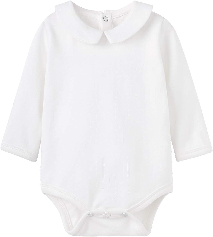 pureborn Newborn Baby Boy Girl Turn Down Collar Infant Bodysuit Cotton Long Sleeve Romper Spring Onesies