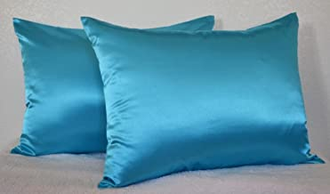 20x36 King (Pack of 2) , Turquoise : Creative 2 Pieces of Hidden Zipper Satin Pillow Case, King Size , Turquoise