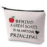 ZJXHPO Principal Gift Assistamt Principal Gift Behind a Great School is an Awesome Principal Makeup Bag End of Years Gift (PRINCIPAL)