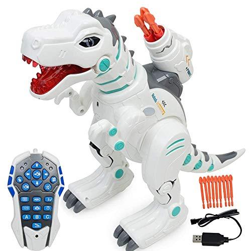 Wesxm Control Remoto multifunción Dinosaur Robot Robot Interactivo RC El Robot Canta, Baila, rocía la Niebla, Lanza misiles, iluminación Inteligente Dinosaurio de Control Remoto inalámbrico