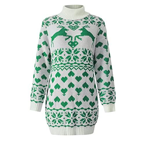 Vestido de suéter para mujer de Navidad con cuello alto y manga de linterna de bloque de color de punto, verde, M