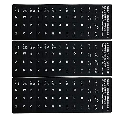 LAANCOO Repuesto Pegatinas Teclado Español, no Transparente Pegatinas Teclado español con el Fondo Negro en Letras Blancas para los Ordenadores portátiles, Ordenadores de sobremesa 3 Piezas español