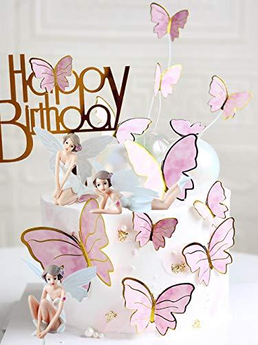 JeVenis 15 PCS Fairy Cake Decoration Fairy Butterfly Cake Decoration Fairy Party Supplies Fairy Party Favors Fairy Garden Decoration for Fairy Theme Birthday Wedding Decoration
