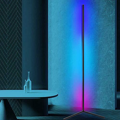 HUIYAN Lampara de pie,RGB Regulable lampara de pie Lámpara De Pie De Esquina Led Regulable con Control Remoto |55 Pulgadas RGB Cambio De Luz para La Decoración De La Sala De Estar De La Habitación