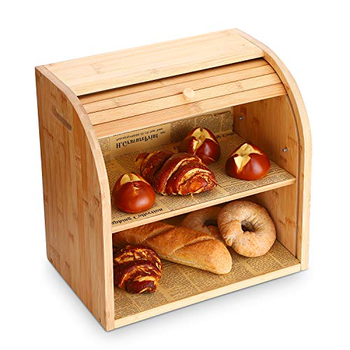 G.a HOMEFAVOR Bamboo Bread Box, 2 Layer Bread Bin for Kitchen, Large Capacity Wooden Bread Storage Holder, Countertop Bread Keeper, 15' x 9.8' x 14.2', Self Assembly