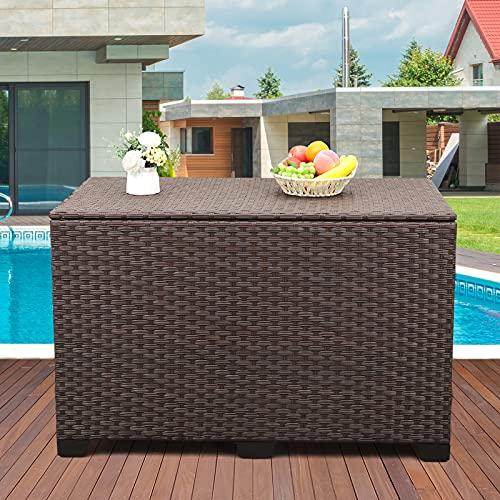 Valita Outdoor Wicker Storage Box, Big Size,Resin Brown Rattan Deck Bin with...
