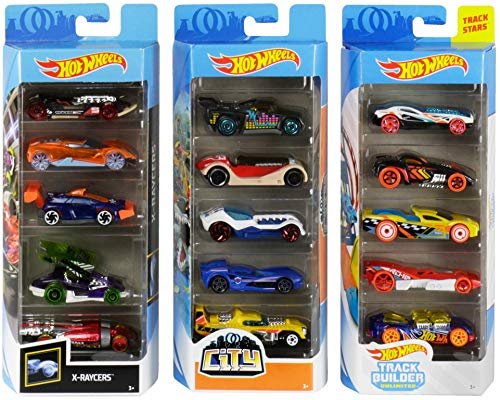 Hot Wheels Track Bundle with Hot Wheels City Track Builder X-Raycers 5-Pack 1:64 Scale Die-Cast Cars Collectors of All Ages Colorful Graphics Exclusive Great Gift Idea 3 years and older