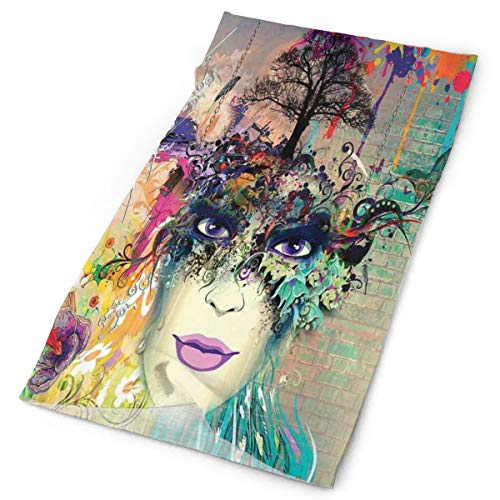 GUUi Headwear Headband Head Scarf Wrap Sweatband,Abstract Floral Arrangement with Woman Portrait Birds and Color Splashes on Wall,Sport Headscarves for Men Women