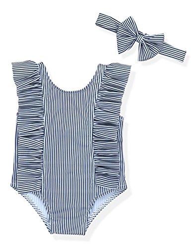 Baby Girl Bikini Striped Beach Swimsuit Ruffles Bathing Suit Swimwear+Headband 2 Pcs Set(70/0-3 Months) Black