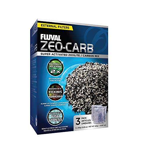 Fluval Zeo-Carb, Chemical Filter Media for Freshwater Aquariums, 150-gram Nylon Bags, 3-Pack, A1490