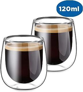 Glastal Taza de Cristal café expreso, Transparente, 120ML, Juego de 2 Piezas