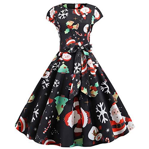 BIKETAFUWY Damen Partykleider Frauen Dress Vintage Abendkleid Kurzarm Weihnachten A Line Swing Mini...