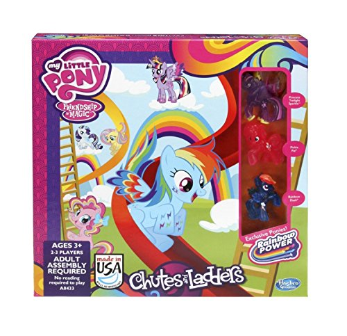 My Little Pony - Friendship is Magic - Rainbow Power - Chutes and Ladders Board Game - with 3 Exclusive Ponies - Princess Twilight Sparkle, Pinkie Pie & Rainbow Dash
