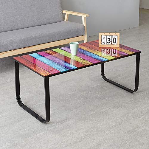 OFCASA Tavolino da salotto in vetro dipinto arcobaleno dal design moderno con gambe in metallo tavolino da salotto