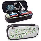 Estuche de lápices de maquillaje de libélula Hojas con pequeñas libélulas y jazmín Ilustración botánica ambiental