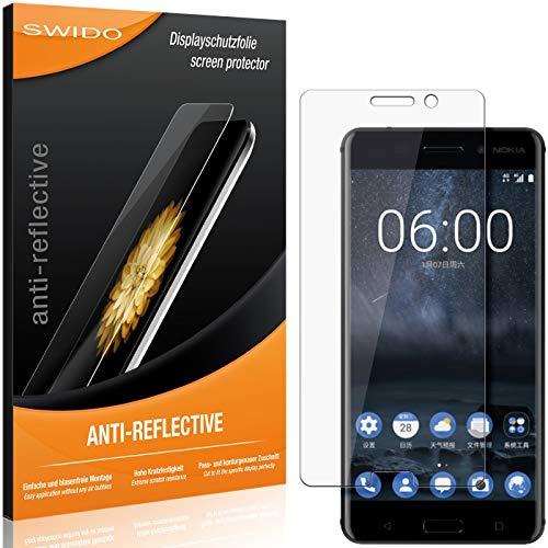 SWIDO Schutzfolie für Nokia 6 [2 Stück] Anti-Reflex MATT Entspiegelnd, Hoher Festigkeitgrad, Schutz vor Kratzer/Folie, Bildschirmschutz, Bildschirmschutzfolie, Panzerglas-Folie