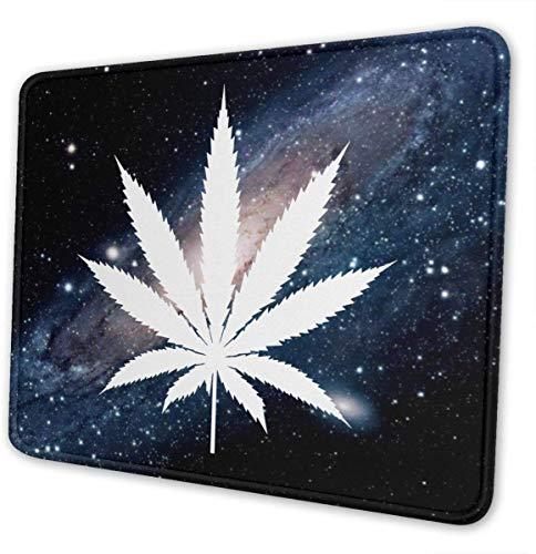 Alfombrilla de ratón para juegos de marihuana blanca con base de goma, antideslizante, 20 x 24 cm