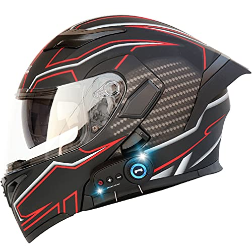 Bluetooth Helmet Motorcycle Double Lens Integrated Flip Up Full Face Visor Modular (Frosted Safflower, XL)