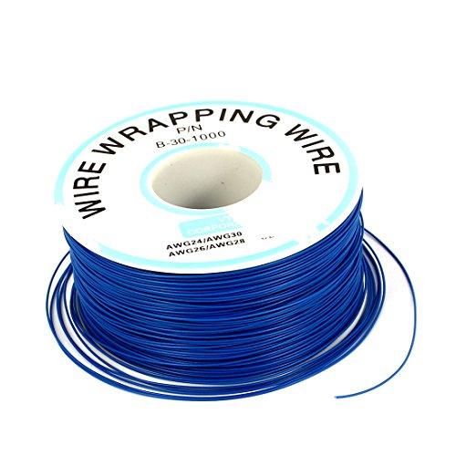 uxcell ジャンパーワイヤーコイル プラスチック 銅 ワイヤーリール AWG30 青 1個入り