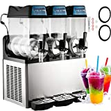 Happybuy 110V Commercial Slushy Machine 600W Stainless Steel Margarita Smoothie Frozen Drink Maker Suitable Perfect for Ice Juice Tea Coffee Making, 12L x 3 Tank, Sliver