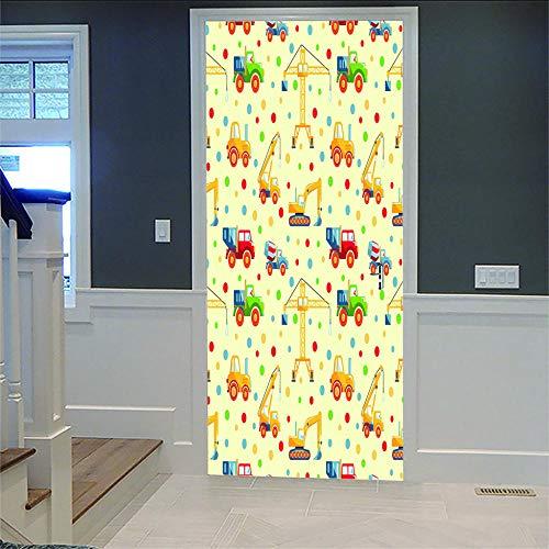 Liushenmeng Türtapete Bauwagen PVC Selbstklebende wasserdichte Abnehmbare Art Decals für Dekoration Wandbild 77X200cm