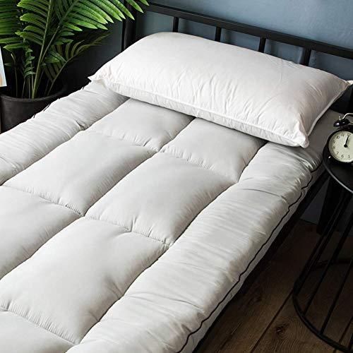 FF Tatami Futon vouwmatras, dikker zacht kussen voor het slapen Slaapzaal voor studenten Toppers gewatteerde matras voor nauwsluitende yoga mat-roze-op 180x200 cm (71x79 inch)