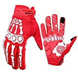 BRZSACR Cycling Gloves Full-Finger Gloves Skeleton Bones Motorcycle Bike Gloves Mountain-Padded Road Bicycle for Men Women Non-Slip and Resistance to Abrasion for Biking Climbing Hiking.(Red, L)