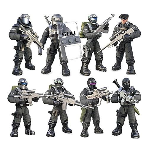JINYIWJ Action Figur Neu!Gemeinsam-Team kleine bewegliche Soldaten Action-Figuren Feuerverkehrspolizei Militärspielwaren Montiert Jungenspielzeug Geschenke (Color : Soli 8pcs)